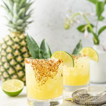 Pineapple Margarita with Agave and Tajin Rim