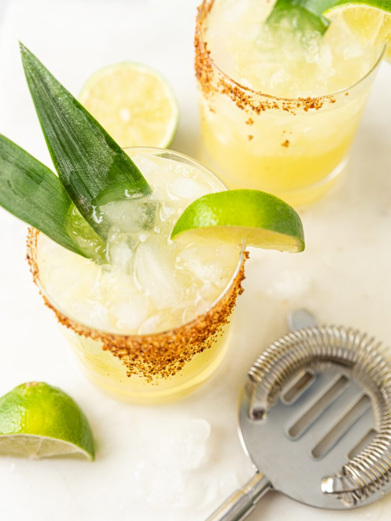 Pineapple Margarita with Agave and Tajin Rim