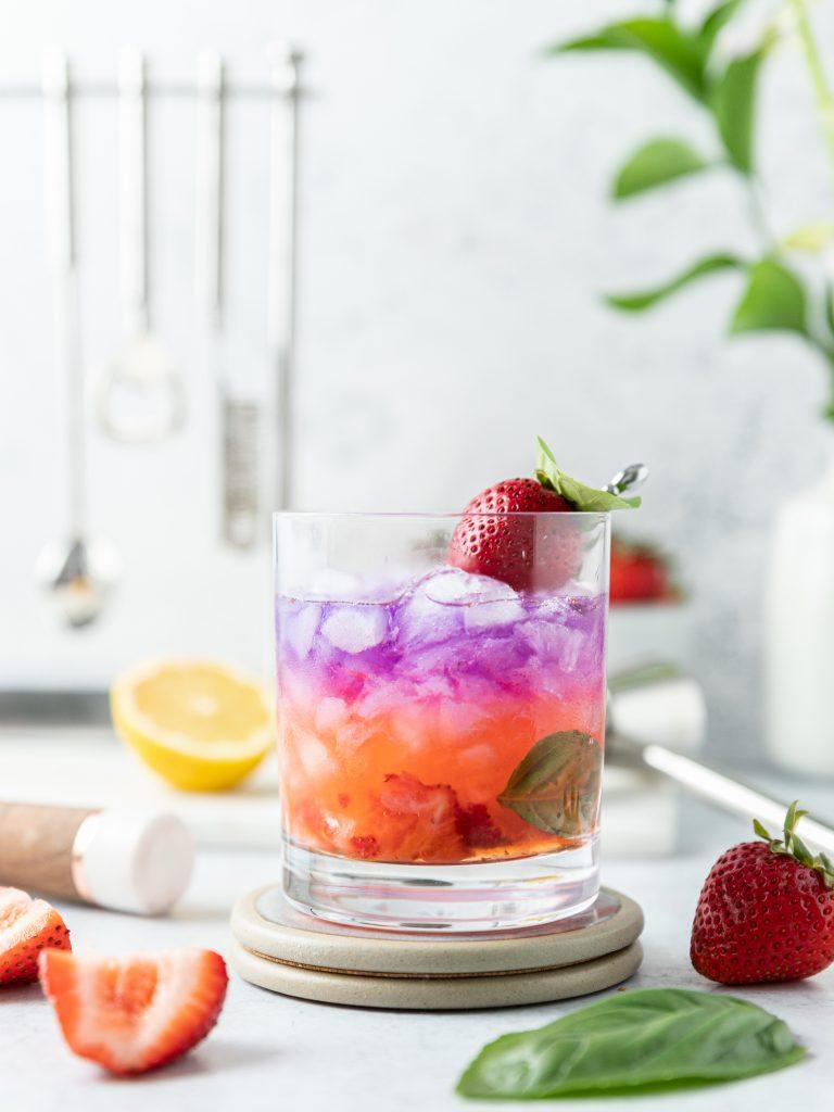 Strawberry Basil and Lemon Gin Color Changing Smash