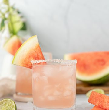 Watermelon Margaritas With Watermelon Juice And Sugar Rim