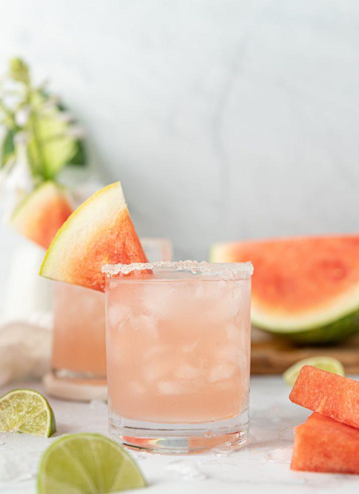 Watermelon Margaritas With Watermelon Juice And Sugar Rim
