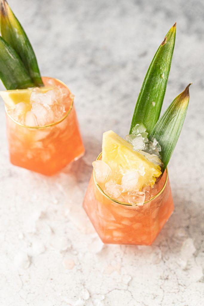 Cinnamon Jungle Bird Tiki Cocktail with Rum and Pineapple Juice