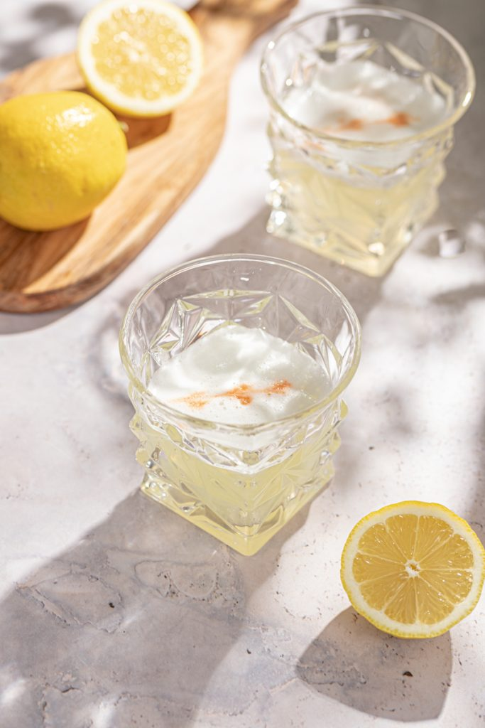 Lemon Gin Sour Cocktail Egg White