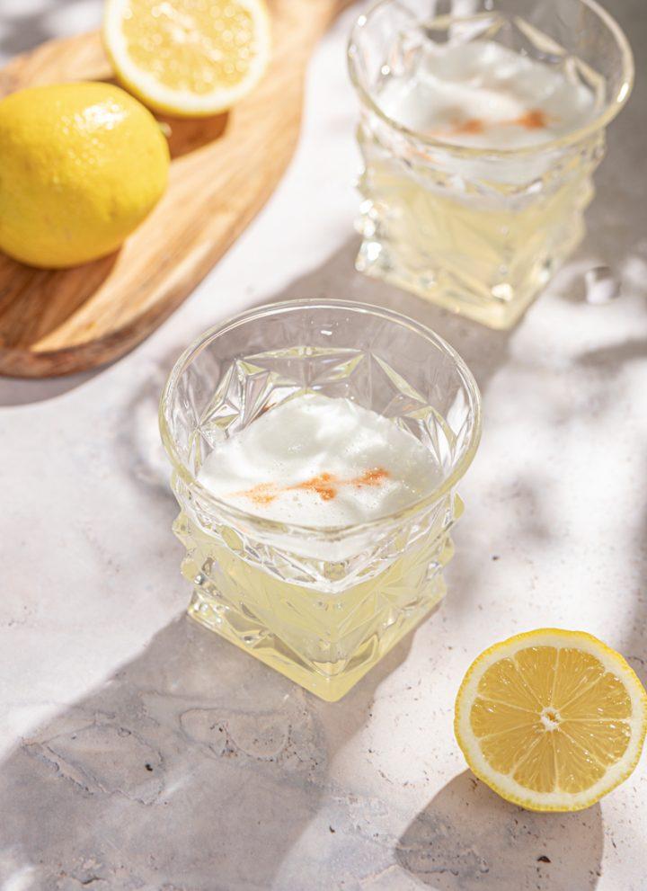 Lemon Gin Sour Cocktail Egg White