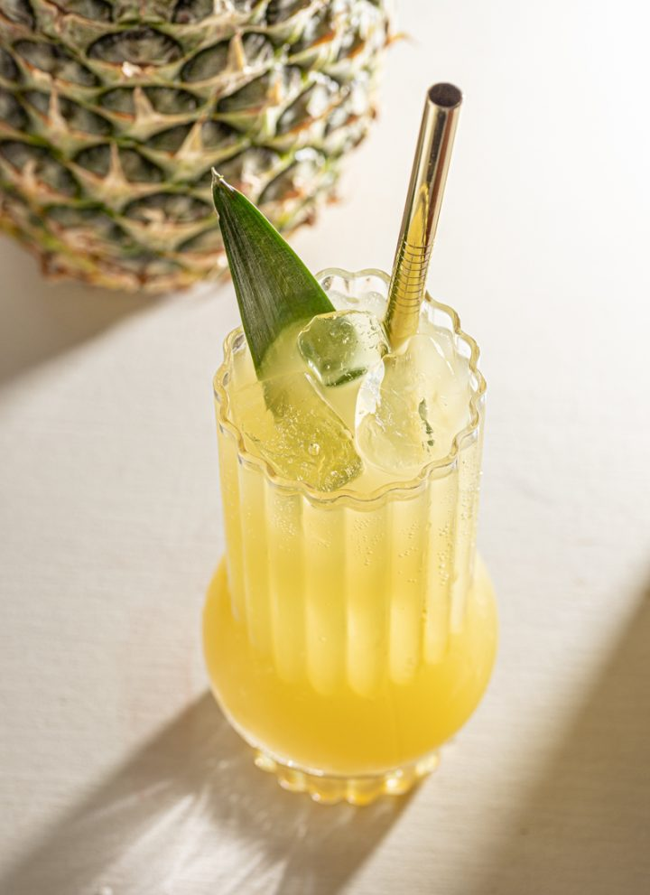 Spicy Ginger and Pineapple Rum Fizz Highball Cocktail