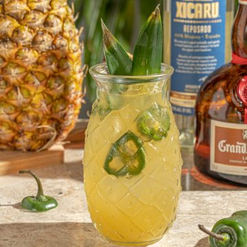 Spicy jalapeno pineapple mezcal margarita cocktail