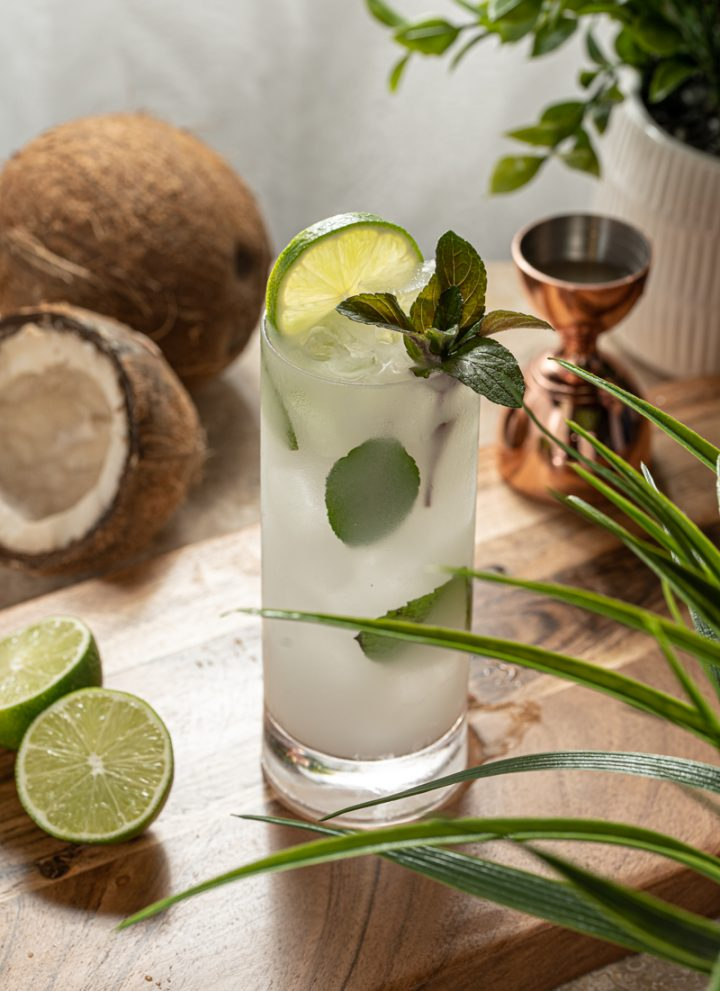 Coconut Mojito Cocktail with Malibu Rum Mint Lime Juice Cream of Coconut