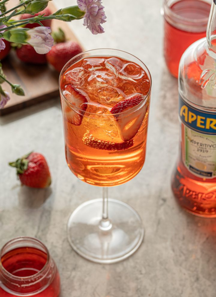 Strawberry Aperol Spritz Summer Cocktail with Strawberry Syrup