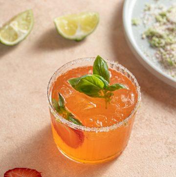 Strawberry Basil Gin Margarita Cocktail