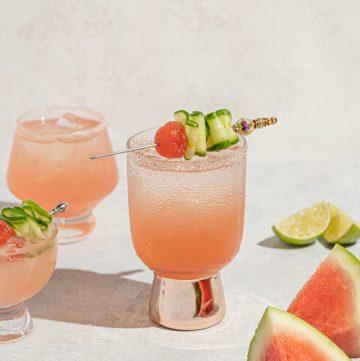 Watermelon Cucumber Margarita Tequila Summer Cocktail