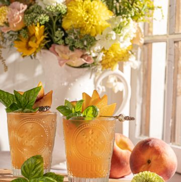 Peach And Basil Bourbon Smash Cocktail